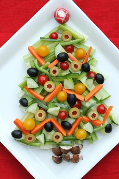 Christmas Tree Relish Tray from Coupon Clipping Cook. Step-by-Step instructions to create. Can customize to use your favorite vegetables. Photo shows celery, baby carrots, green bell pepper, sliced cucumber, teardrop or cherry tomatoes, black olives, green olives, radish, crimini mushrooms. Serve with favorite dipping sauce.