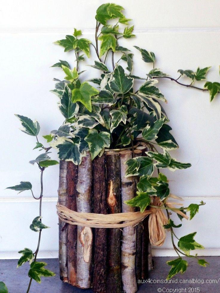 Cache pot en bois petites branches et boite de conserve - Cuisiner avec des boites de conserves ...