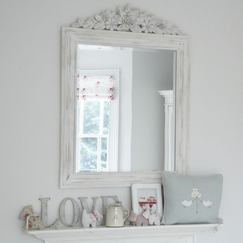 White Distressed Mirrors For Bathroom