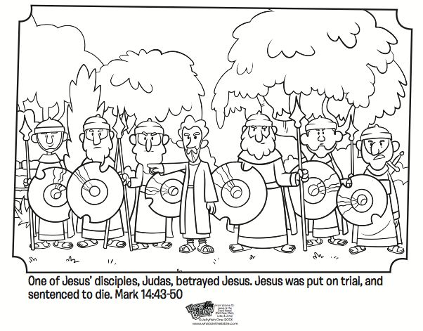 Kids Coloring Page From Whats In The Bible Showing Judas Betraying Jesus Mark 14