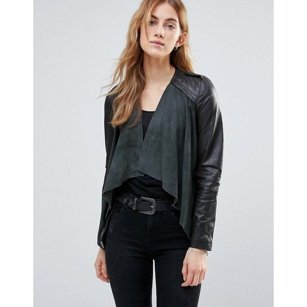 Muubaa Waterfall Leather Jacket (265 AUD) ❤ liked on Polyvore featuring outerwear, jackets, grey, leather jackets, grey waterfall jacket, genuine leather jackets, grey jacket and collarless leather jacket