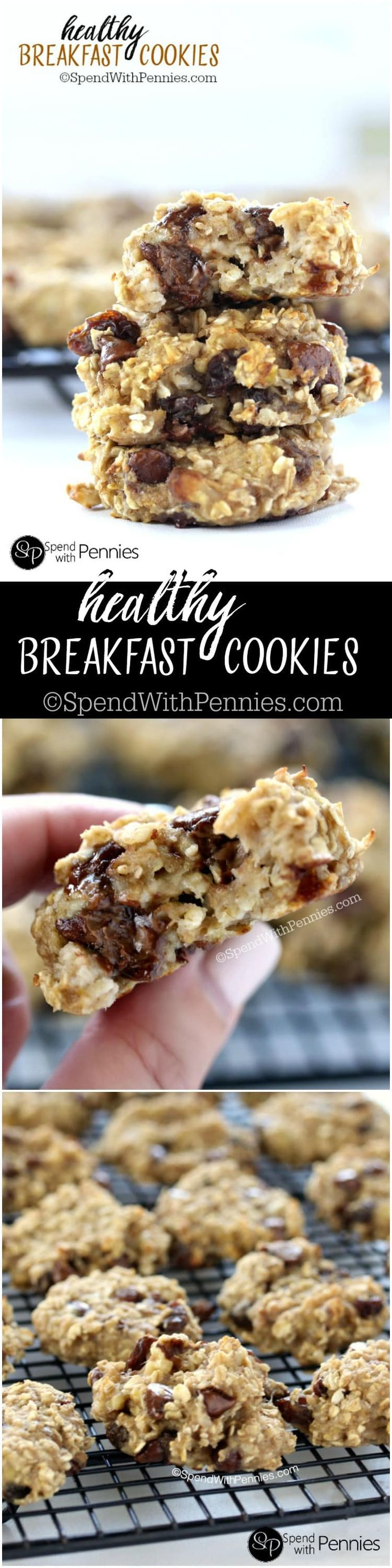 These breakfast cookies are deliciously moist & soft! No added sugar, dairy or fats but tons of flavor!