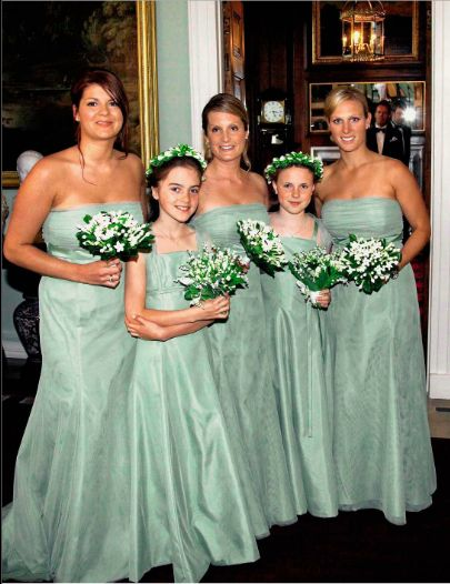 Bridesmaids at the wedding of Peter Phillips and Autumn Kelly. Far right is Zara Phillips.