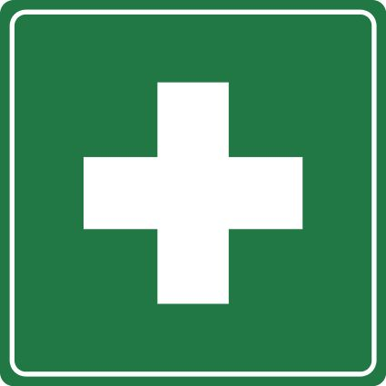 Science Laboratory Safety Signs: Green First Aid Sign