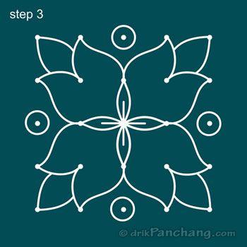 5x5 Dot Rangoli Step 3