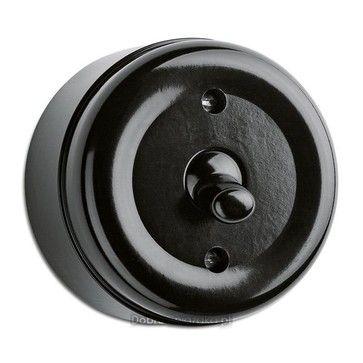 Wyłącznik pojedynczy / schodowy THPG natynkowy bakelit czarny