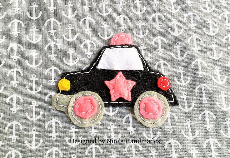 """Girly Kids Police car Inspired Iron On Felt Applique www.NinisHandmades.com 10% discount code: """"GRANDOPENING""""  #girls #pink #police #car #fun #colorful #felt #patch #applique #bearapplique #partyfavor #instapic #instagood #love #beautiful #cute #adorable #handmade #wholesale"""
