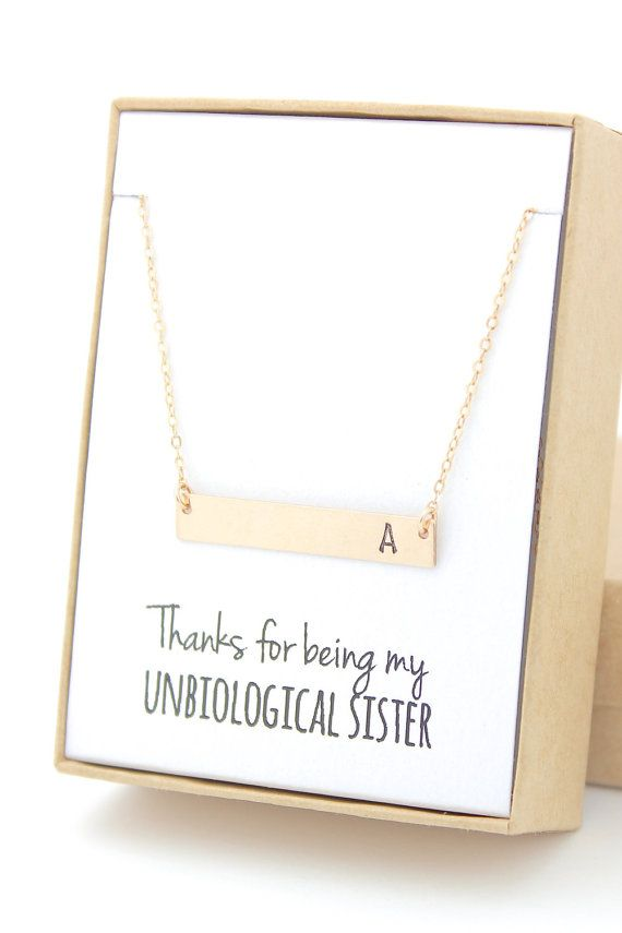 Gold Bar Necklace - Bridesmaid Gift Jewelry - Thanks for Being My Unbiological Sister - Wedding Party - Bridal Party Gifts - Initial Letter