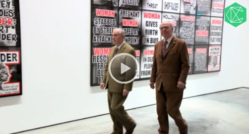 """Gilbert & George  """"One of the art world's most enigmatic characters, Gilbert & George have kept us entertained for over forty years. Crane.tv visited the pair at White Cube Bermondsey to talk about their political leanings, what happiness means and their latest exhibition, London Pictures, which showcases 292 pictures based on 3,712 newspaper bills they've pilfered over the past six years from selected newsagents in east and north London."""""""