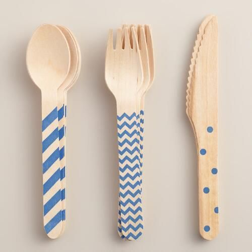 One of my favorite discoveries at WorldMarket.com: Royal Blue Stamped Wood Cutlery Set