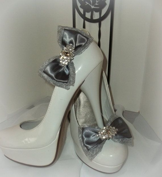 Bridal Shoe Clips  Lace and Satin Triple Bows  by ShoeClipsOnly, $38.00