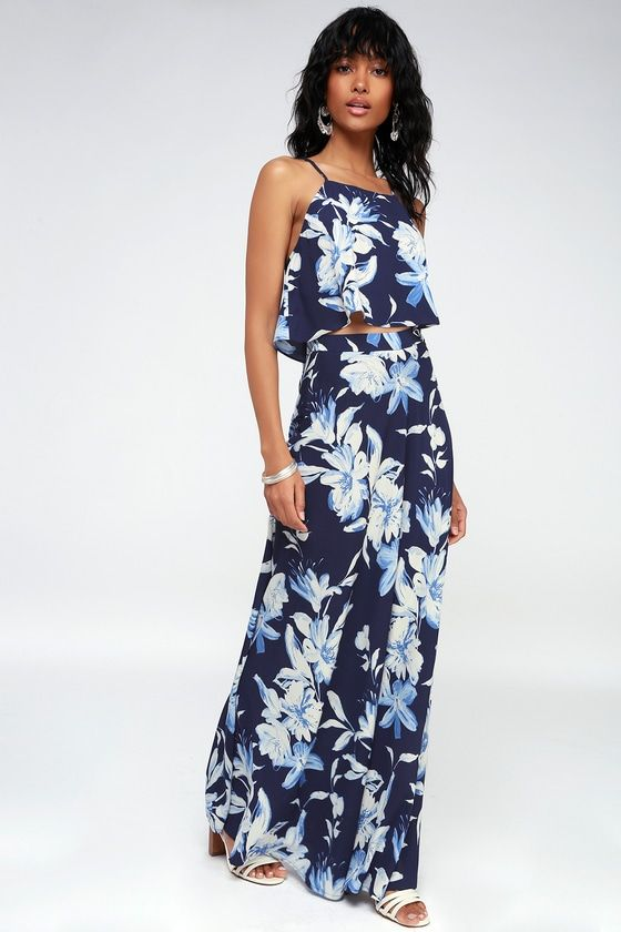 c295e4f4ef5 The island life is waiting for you and the Love for Lanai Navy Blue Floral  Print Two-Piece Maxi Dress to arrive! Woven poly crop top has a matching  A-line ...