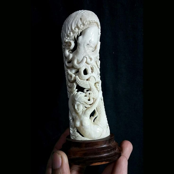 "Hand Carved Mermaid Octopus 5.5"" Natural Buffalo Bone Carving Statue"