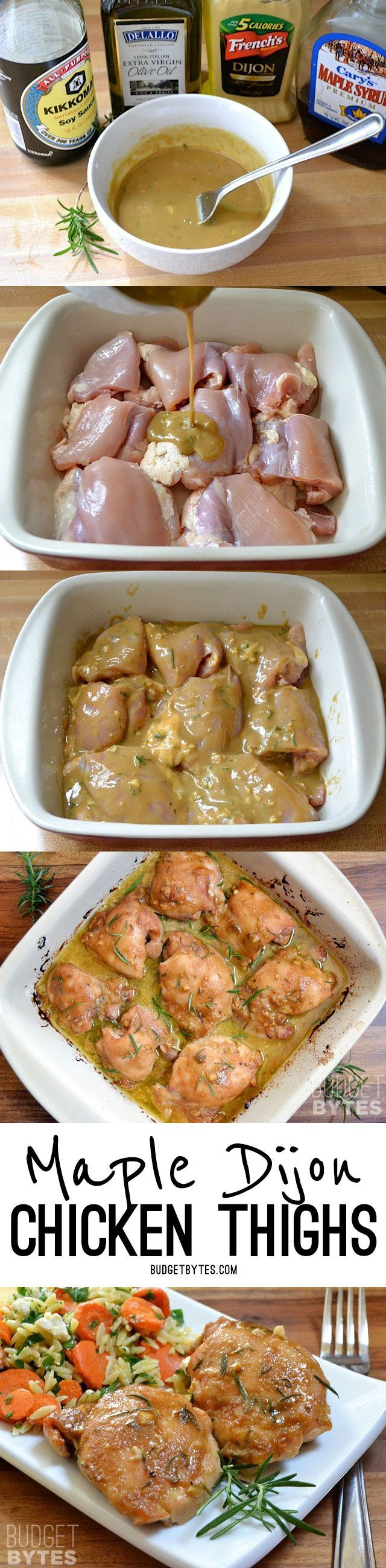 You won't find an easier, more flavorful dish than these Maple Dijon Chicken Thighs. Sweet and savory, this dish is a family pleaser. @budgetbytes