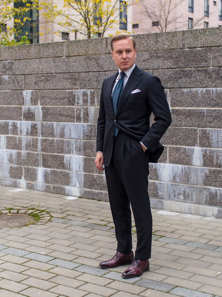 Image result for charcoal suit with brown wingtips