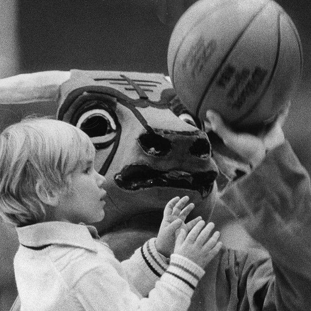 "Me, 1974, Chicago Tribune: ""Benny the Bull plays keepaway with Mark Ferdman, 4, of Des Plaines."""