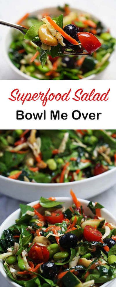 Healthy Superfood Salad for healthy eating & big flavor. Crunchy, healthy fruit & vegetables it's a delicious meal! #vegan #vegetarian
