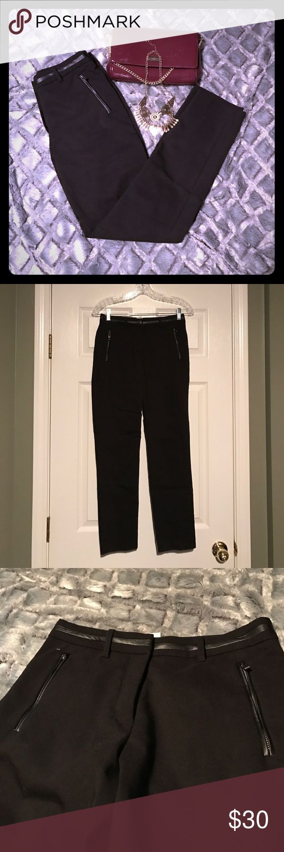 "Black cigarette pants w/ faux leather trim detail Black cigarette pants with faux leather trim detailing at zippered pockets and waste. 28"" from hem to crotch. 14"" waist when laid flat. In perfect condition! Size 4, but fits like a 0/2. H&M Pants Skinny"