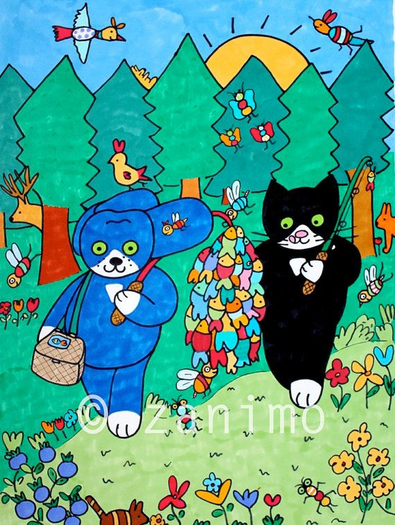Gofrette and Blue walking through the forest going by Zanimo, $20.00
