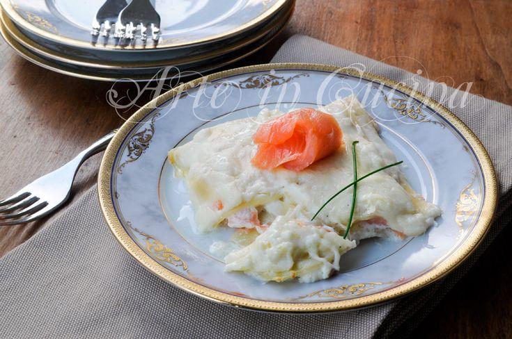 Lasagne al salmone e burrata con besciamella vickyart rate in cucina