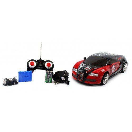Electric Full Function 1:24 Bugatti Veyron Graffiti RTR RC Drift Car (Colors May Vary) Remote Control w/ Rechargeable Batteries and Spare Tires