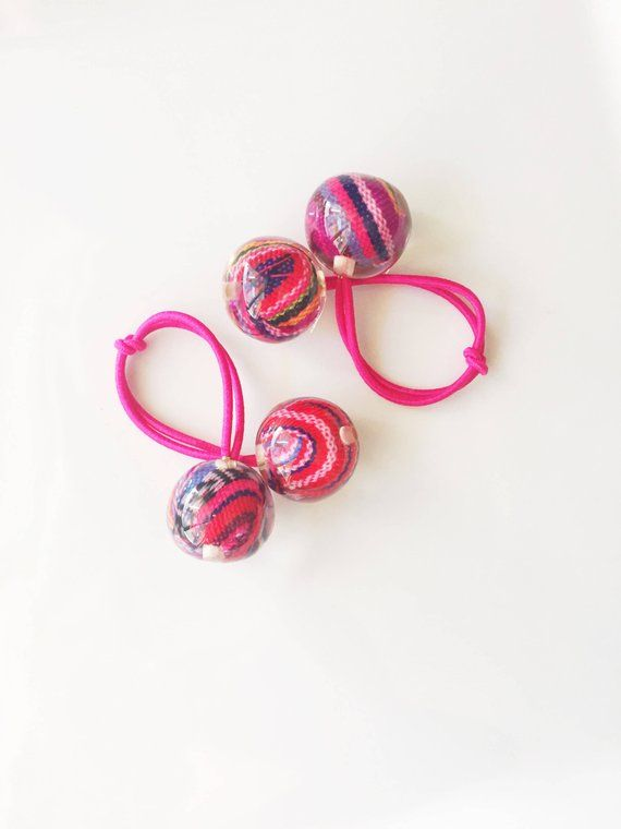 What little girl (or big girl) wouldnt go crazy over these adorable retro  fabric covered ponytail holders! Like the ponytail holders from …  91a11503573