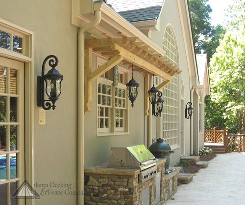 Hip Roof Pergola Over Garage Doors From Atlanta Decking: Small Arbor Over A Barbecue