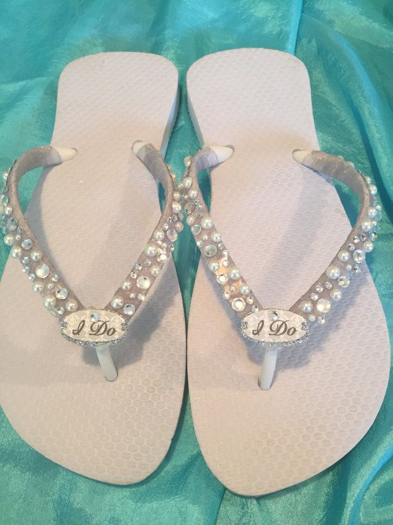 WEDDING Flip FlopsBridal Flip Flops/Wedges. I DO by RocktheFlops