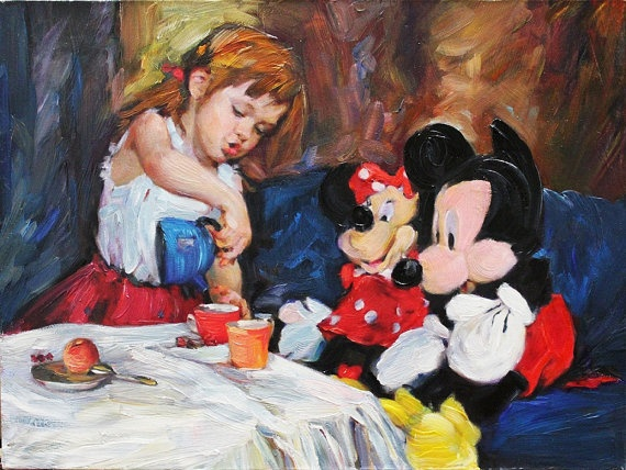 "Disney Mickey Mouse and Cute Girl Original Oil Painting Hand-Painted Wall Art 12""x16"""