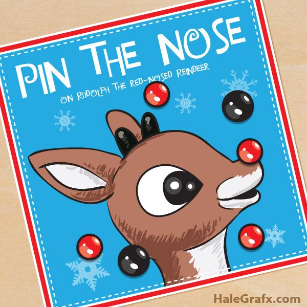 Free printable Pin the Nose on Rudolph the Red Nosed Reindeer game