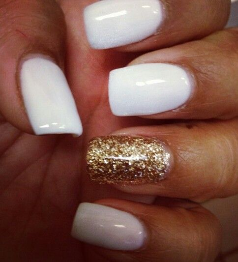 White gel nails and gold glitter