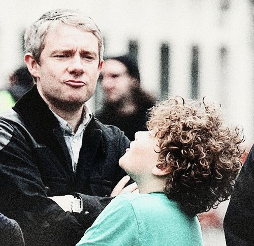 Little Sherlock is played by Moffat's son! Crazy fun! <--Jawn's face!!! <---That's his serious actor face.