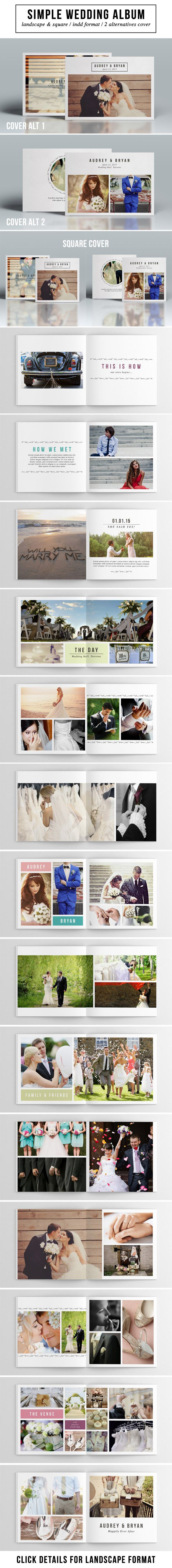 Make your beautiful wedding day into a photo album with simple & elegant design. It's easy editable, all you need to do is just drag your image to the template, and/or add some text. it has 32 pages with different layout. If you like it and find it useful click on the link provided. :)