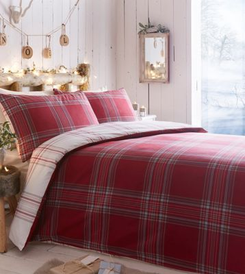 Home Collection Red brushed 'Check' bedding set | Debenhams