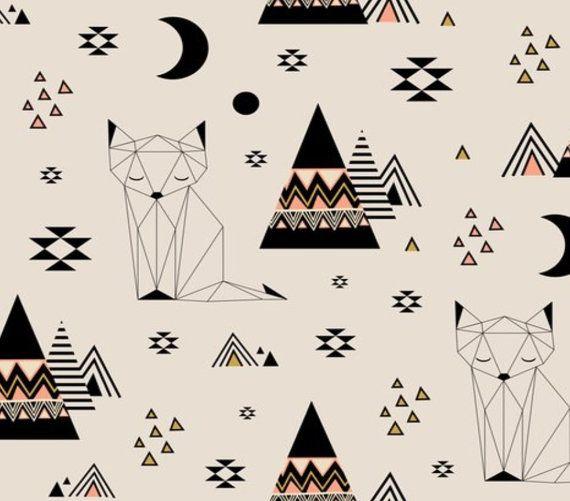 Feuille de crèche équipée en « Fox sur la lointaine planète » genre neutre, Tribal, personnalisé literie
