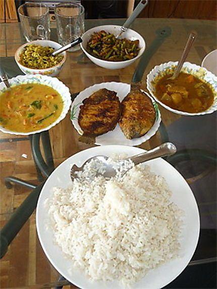 Spécialités du Kérala... Un vrai festin ce repas. Riz (of course) ladies fingers ; fishes, légumes à base de lait de coco, etc.   ©onlyflo