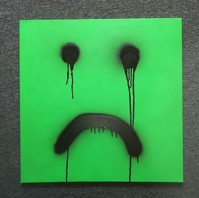 Smiley sad SIGNED Original Canvas Sheen street art graffiti style stik