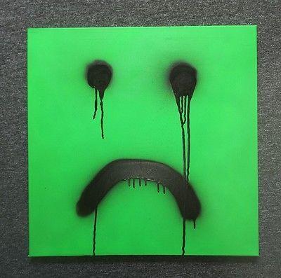 Smiley sad SIGNED Original Canvas Sheen street art graffiti style stik