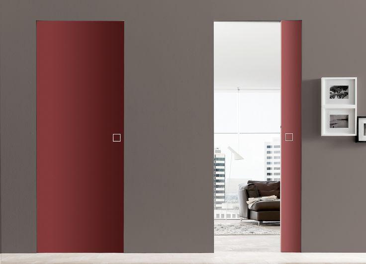 Porte coulissante à galandage laquée rouge