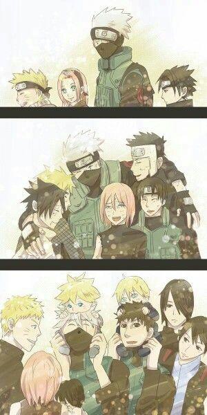 Team 7, different ages, time lapse, cute, Kakashi, Naruto, Sakura, Sai, Sasuke, Yamato; Naruto