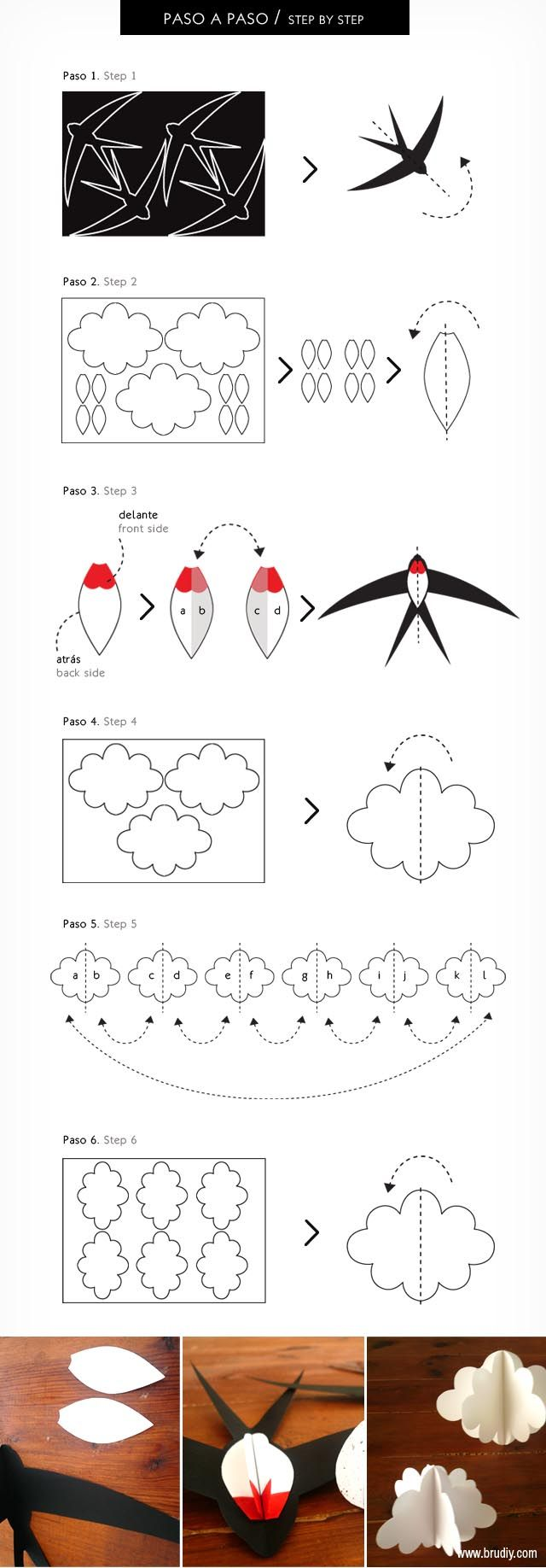 Móvil de Golondrinas / Mòbil d'Orenetes / Swallow Mobile #DIY #swallow  #paper #BruDiy #baby #home #kids #craft #templates #plantillas