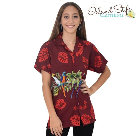 Ladies Hawaiian Shirt - Red Parrot Leaf Band - Party Clothing, Cruise, Casual, Skater, Luau, Halloween.