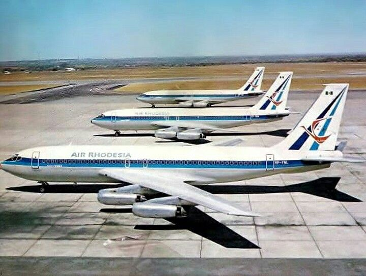 """Air Rhodesia Boeing 720-025 VP-YNL """"Manicaland"""", VP-YNM """"Matabeleland"""", and VP-YNN """"Mashonaland"""" at Salisbury-International (later Harare-International), circa 1973. Despite international sanctions against the country at the time, these ex-Eastern Air Lines aircraft were acquired through neutral-Switzerland-based Jet Aviation."""