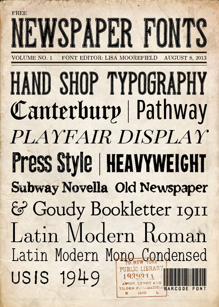 Free newspaper fonts and backgrounds