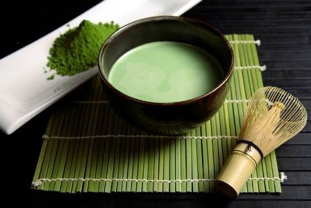 macha powder and tea