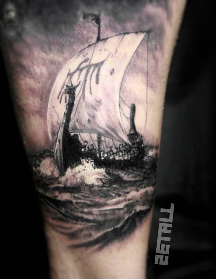 Znalezione obrazy dla zapytania viking boat tattoo