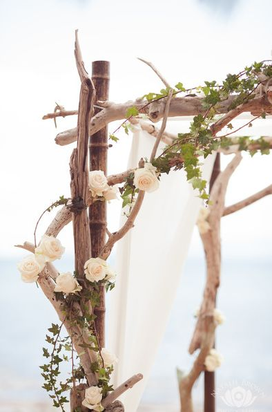 Driftwood Arch with Ivy & Roses