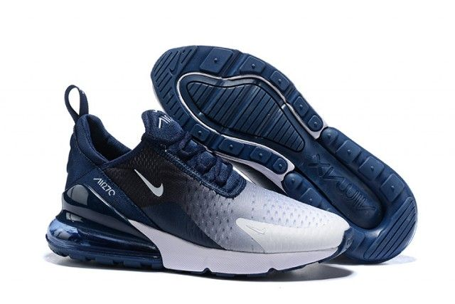 Nike Air Max 270 Flyknit Spectrum Navy Blue White Men's ...