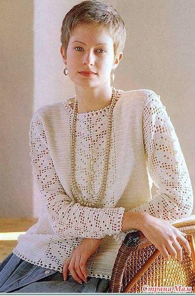 Девочки! Вяжем такой красивый, нежный пуловер.  Опрос проходил вот здесь http://www.stranamam.ru/ Надеюсь, когда минуют предновогодние хлопоты, к нам присоединятся больше желающих.