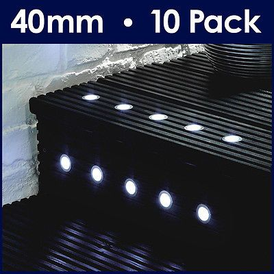 Pack of 10 white 40mm led round garden decking deck plinth lights